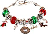 Lova Jewelry ''I see it's Christmas'' Murano Glass Beaded Charm Bracelet