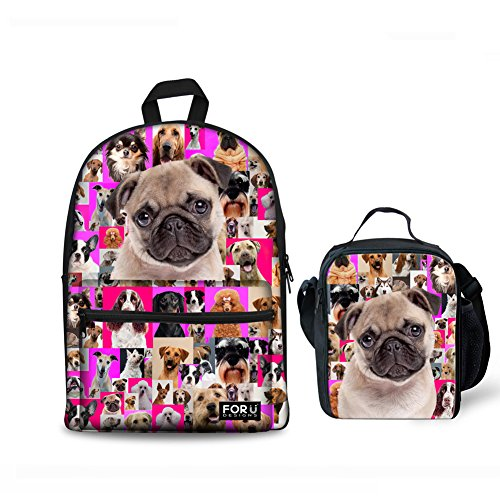 FOR U DESIGNS Canvas Backpack School Bookbag Lunch Bag 2 Pcs/Set Pink Bulldog Printing for Teenager Girls Boys