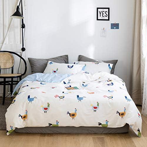 Micbridal Super Cute Chicken Comforter Set Queen White Cotton Duvet Cover Set 1 Chicken Duvet Cover 2 Pillowcases Animal Chicken Bedding Set With Zipper Closure No Comforter Kitchen Dining Amazon Com