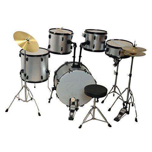 Brand New Professional 5 Piece Adult Drum Set Silver for Beginner