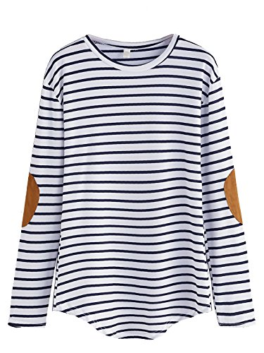Blue Striped Long Sleeve Shirt (Milumia Women's Elbow Patch Striped High Low Top T-shirt (Small, Blue and White))