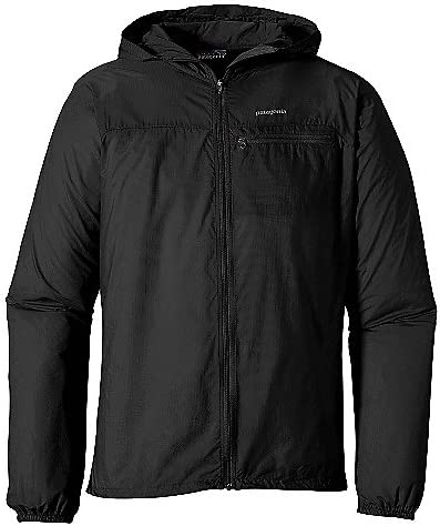 An image of a black jacket with hood hanging and with elasticized armholes