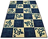 """Cheap Normian Collection Checkered Floral Abstract Squares Geometric Design Area Rug Rugs Modern Contemporary Area Rug 3 Color Options (Navy Blue, 4'9″ x 6'10"""")"""