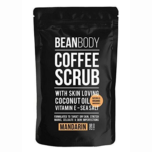 Mr. Bean Organic All Natural Coffee Bean Exfoliating Body Skin Scrub with Coconut Oil, Vitamin E, and Sea Salt - Mandarin ()