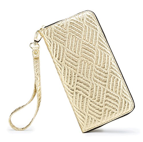 LOVESHE Women wallet ReliefWeave Gold Bohemian wristlet Clutch wallets ()