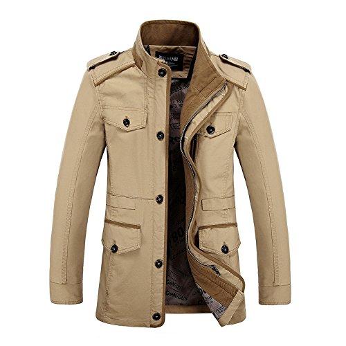 ocio casual delgado un el par de del Algodón Chaqueta otoño el Hombre de collar en puro caqui hombre 6XL En adelgaza chaqueta qTtSISn