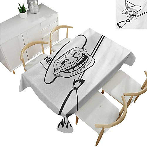 Humor,Tablecloth Factory,Halloween Spirit Themed Witch Guy Meme LOL Joy Spooky Avatar Artful Image Print,Waterproof Table Cover for Kitchen 50