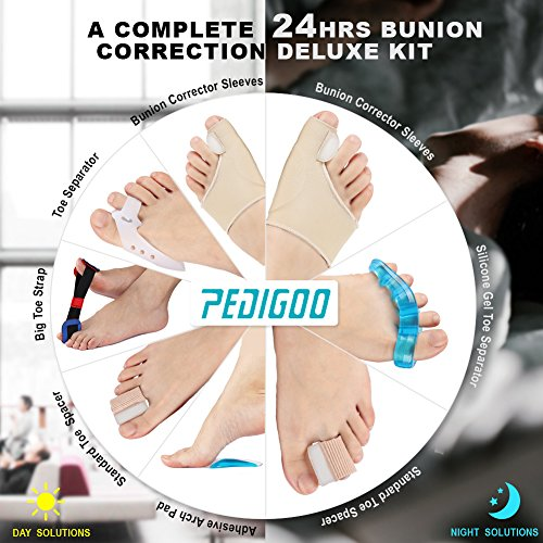 PediGoo Bunion Corrector Deluxe Kit, Fast Bunion Relief Sleeves with Gel, Pedicure Toe Separators Spacers, Arch Support Pads - Unisex Fit - 13 Pieces by PediGoo (Image #6)