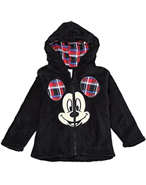 Disney Toddler Boy's Mickey Mouse Black Velboa Hoodie