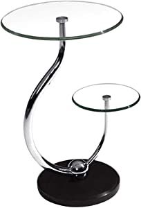 Home Décor Furniture Small 2-Tier Round Glass Side Tables Living Room Coffee End Tables with Marble Base for Office Living Room or Lounge