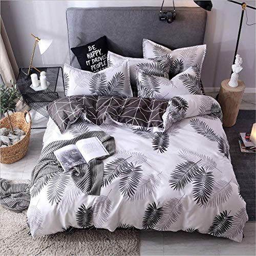 SSHHJ Bedding Sets Queen King Double Luxury Duvet Cover Set Family Linen Set Bedclothes Leaf F 220x240cm