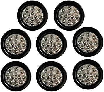 Set of 4 MBB 4 inch Round 12 Red LED Brake Stop Turn Signal Marker Rear Tail Lights w//Grommet Plugs for Bus RV Truck