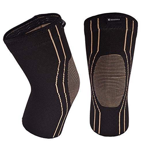 Thx4 Copper Sports Compression Knee Brace for Joint Pain and Arthritis Relief, Improved Circulation Support for Running, Jogging, Workout, Gym-Best Knee Sleeve-Single-Large