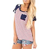 JINTING Independence Day T Shirt USA Women American Flag 4th of July T Shirt Shortsleeve Size M (Red)
