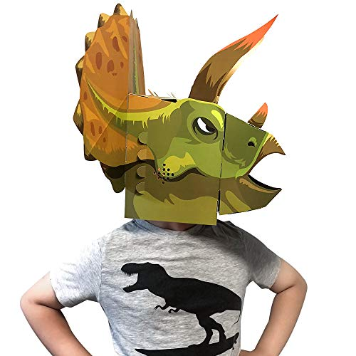 Action Dinomask: 3D Paper Dinosaur Mask for Child, Triceratops Green ()