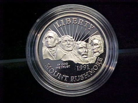 - 1991 S Mt. Rushmore Golden Anniversary Coin Half Dollar Proof US Mint