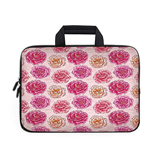CANCA Floral Laptop Carrying Bag Sleeve,Romantic Rose Petals Fragrance Bouquets Love Classic Blooms Graphic/for Apple MacBook Air Samsung Google Acer HP DELL Lenovo AsusMagenta Light Pi