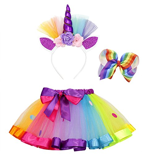 Cotrio Layered Ballet Tulle Rainbow Tutu Skirt for