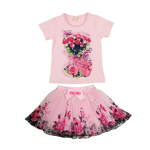 Sweet Style Soft Baby Girl Set Rose Pattern Tops And Shorts - 8