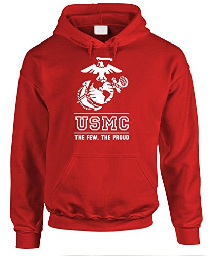THE FEW THE PROUD THE MARINES usmc marine - Mens Pullover Hoodie, XL, Red