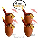 Cantarito De Barro 12 Oz Jarrito Loco Traditional Authentic Margarita Michelada Mexican Lead Free Red Clay ((4) Cantaritos)