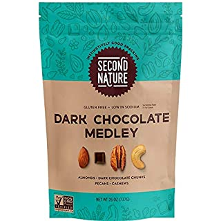 Second Nature Dark Chocolate Medley Trail Mix - Snack Nut Blend, Gluten Free - 26 oz Resealable Standup Pouch