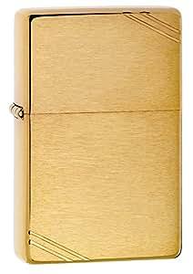 ZippoVintage Brushed Brass with Slashes Pocket Lighter