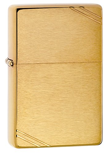 Zippo 240 Vintage Brushed Brass with Slashes Pocket (Gold Lighter)