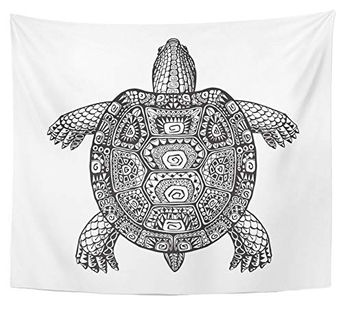 Emvency Tapestry Polyester Fabric Print Home Decor Tortoise Turtle Ethnic Graphic Style with Patterns Totem Animal Desert Dinosaur Wall Hanging Tapestry for Living Room Bedroom Dorm 50x60 - Totem Animal Turtle