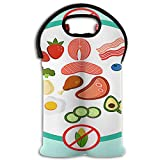 RobotDayUpUP Keto Diet Do's and Don'ts 2 Bottle Wine Tote Carrier Bag Portable Insulated Polyester Beer Hand Bag for Travel,Picnic,Party