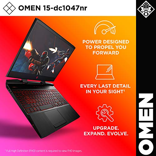 Omen by HP 2019 15-Inch Gaming Laptop, Intel i7-9750H Processor, NVIDIA RTX 2070 8 GB, 32 GB RAM, 512 GB SSD, VR Ready, Windows 10 Home (15-dc1047nr, Black)