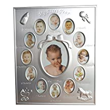 """NovoGifts My First Year Baby's Photo Frame Siver 9.4"""" x 11.4"""""""