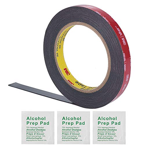 3M 0.5 Inch Width 15 Ft Length VHB 5952 Black Heavy Duty Multipurpose Double Sided Tape - Includes 3 Alcohol Prep Pad