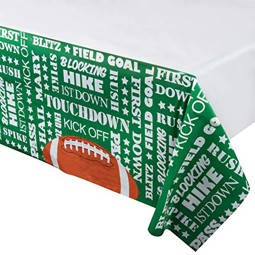 Juvale Football Plastic Tablecloth - 3-Pack 54 x 108-Inch Football Sayings Disposable Table Cover, Fits up to 8-Foot Long Tables, Game Day Party Decoration Supplies, 4.5 x 9 Feet
