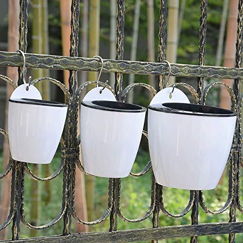 Metal/Plastic Hanging Planter Basket 3 Pcs Self-Watering Wall Hanging Flower Planter Pots Indoor Outdoor Plants Holder Hanger 1S+1M+1L Flower Bucket Pots Hanger Planter ()