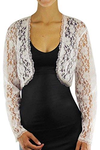 Ivory White Long Sleeve Dressy Lace Bolero