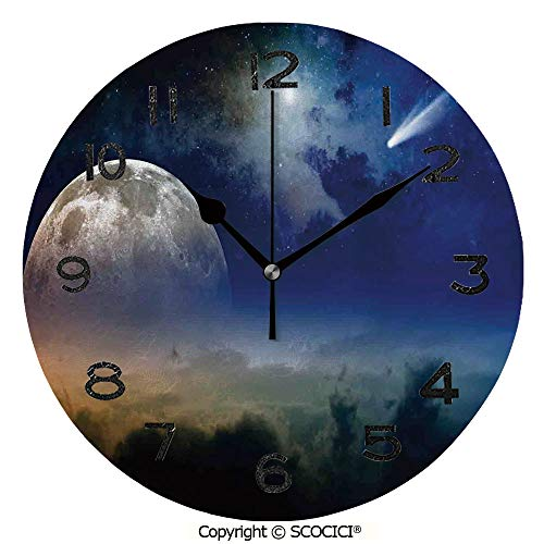 - SCOCICI 10 Inch Round Face Silent Wall Clock Clouds Full Moon Rise and Comet in Dark Sky Celestial Horizon Twilight Decorative Unique Contemporary Home and Office Decor