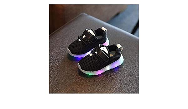 Amazon.com: FidgetKute Zapatos de Bebe Niña Niño Zapatillas de Malla con Luz LED Intermitente Negro 8: Clothing
