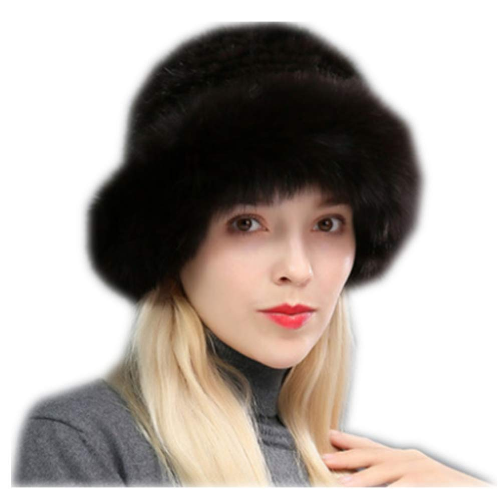 MH Bailment Womens Winter Hat Knitted Mink Real Fur Hats Fox Brim (One Size, Coffee Color)