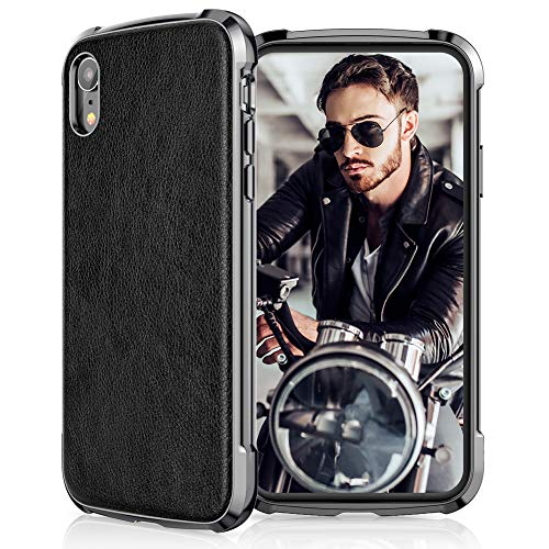 LOHASIC for iPhone XR Case, Drop Proof Leather Cover, Shockproof TPU Bumper, Compatible with Apple iPhone XR (2018) 6.1
