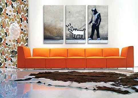 Canvas Champ 3-panel Banksy Choose Your Weapon Keith Haring
