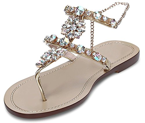 JF shoes Women's Wedding Sandals Crystal with Rhinestone Beaded Bohemian Dress Flip-Flop Gladiator Shoes (US 7.5), Gold