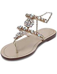 Women s Crystal Rhinestone Bohemia Flip Flops Summer Beach T-Strap Flat  Sandals 77a15289f629
