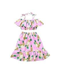 Iuhan® Baby Girls Ruffle Off Shoulder Pineapple Tops Skirt Girls Outfits Set 2pcs/Set