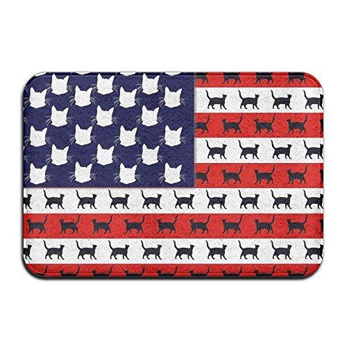 biernsege Home&Apron Cute Cat Flag America Antiskid Carpet Mat Rug for Indoor/Front Door/Bathroom/Kitchen