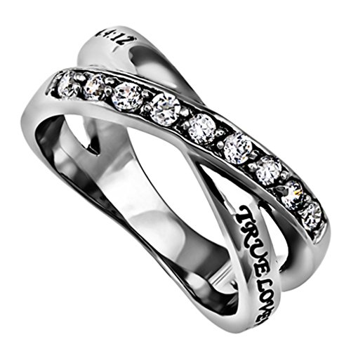 True Love Waits Purity Ring, Christian Bible Verse, Church Chastity Ceremony, Weave Band with Simulated CZ Stones (6)