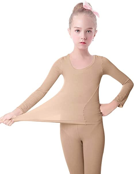 Daydance Kids Thermal Underwear Sets Tops /& Pants Girls Nude Base Layer for Dance