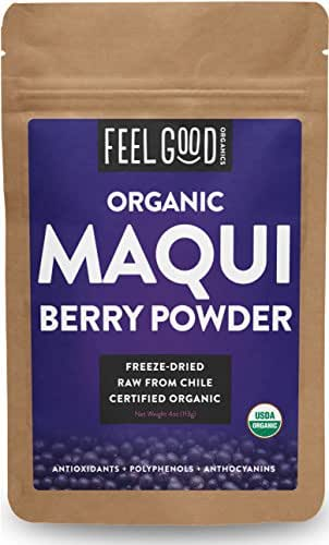Organic Maqui Powder - 4oz Resealable Bag - 100% Raw From Chile - by Feel Good Organics