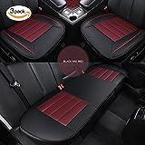HCMAX 車用 シートカバーセットカバー 座布団 シートクッション 座席シート 3枚組 カー用品 前座席用2枚+後部座席用1枚 カーシートPUレザー (前座席用2枚+後部座席用1枚, ブラック、レッド)
