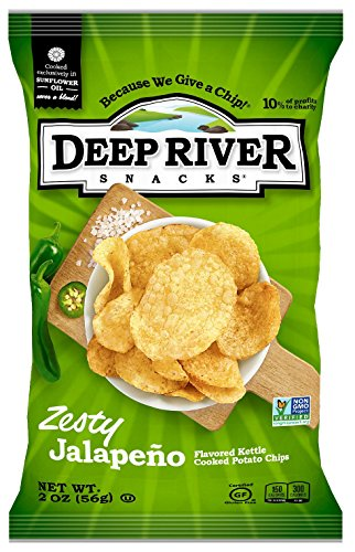 Deep River Snacks Zesty Jalapeno Kettle Cooked Potato Chips, 2-Ounce (Pack of 24)